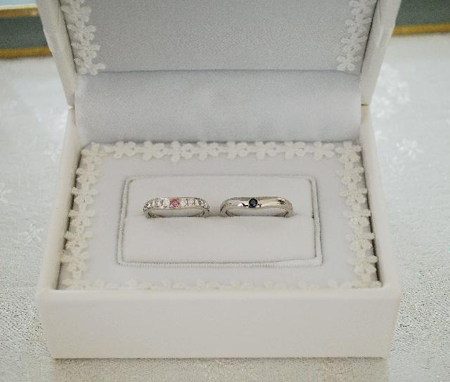 K様Pt900カラーダイヤモンド結婚指輪(マリッジリング)