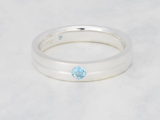 メンズSilvreアクアマリン結婚指輪