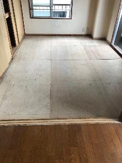 隅田区、マンション室内和室畳から洋室床への工事