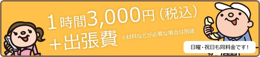 1時間 3,000円(税込)+出張費 ※材料などが必要な場合は別途 日曜・祝日 も同料金です!