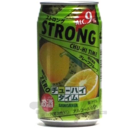 サンガリア ストロング チューハイタイム ゼロ グレープフルーツ 9度 350ml