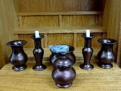 陶器製 仏具6点セット・とうきせいぶつぐ6てんせっと・まどい仏具(小)