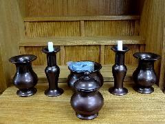 陶器製 仏具6点セット・とうきせいぶつぐ6てんせっと・まどい仏具(中)