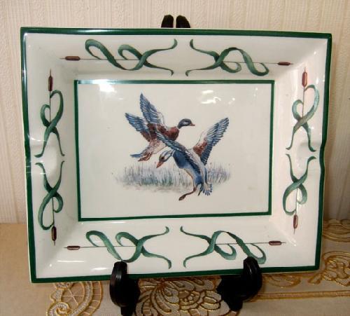 灰皿、飾り絵皿、インテリア小物 イタリア製 2羽 飛び立ち■在庫処分品