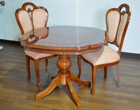 輸入家具 ティーテーブル3点セット合皮、テーブル×1 チェアー×2 イタリア/サルタレッリ社製 フローレンス DT-36 /W、DC-F41/W