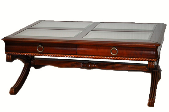 処分特価  天板にガラス使用のリビングテーブル 788/W