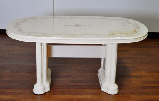 サルタレッリダイニングテーブル アイボリー色、鏡面仕上げVN83