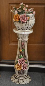 ロココ調、バラの花のプランター付きコラム 鉢カバー 、800