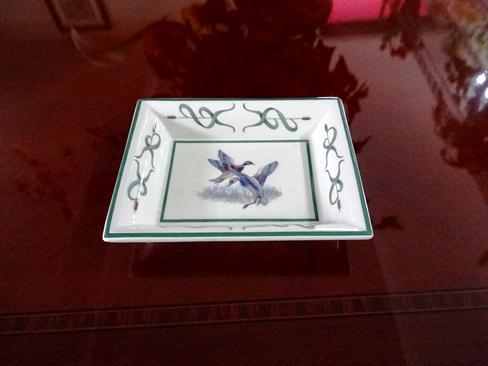 イタリア製 陶器のトレー 絵皿、S2羽