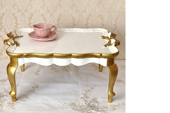 白いミニテーブル 665