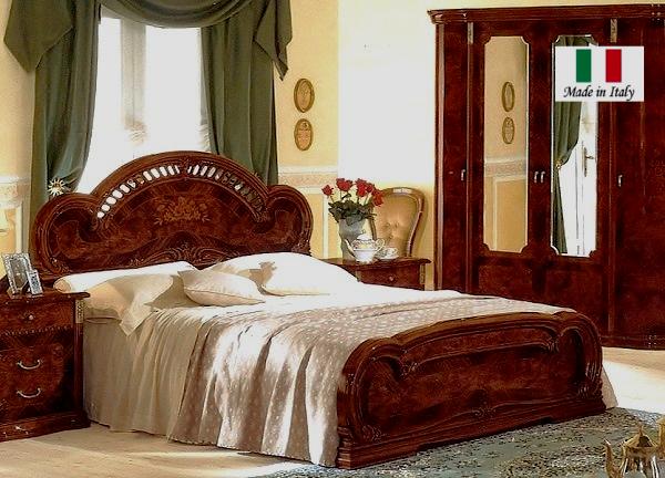 イタリア製クイーンベッド ウッドスプリング 茶色 鏡面仕上げ MILADY