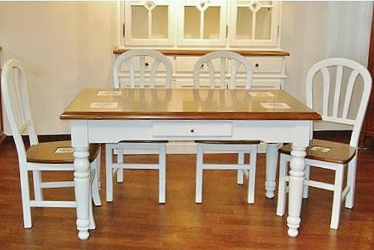 処分特価  輸入家具 カントリー 白家具 ダイニングセット 5点セット132.199-I