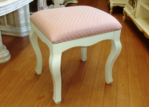 ヨーロッパ調 ロココ 白いスツール お姫様家具 かわいい 猫脚スツール オットマン 足置き 821