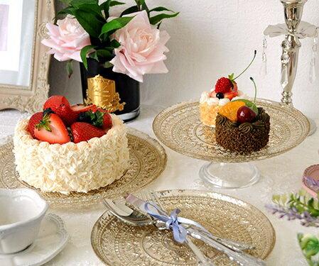 ケーキコンポート ガラス ケーキスタンド ケーキプレート シャビーゴールド 131