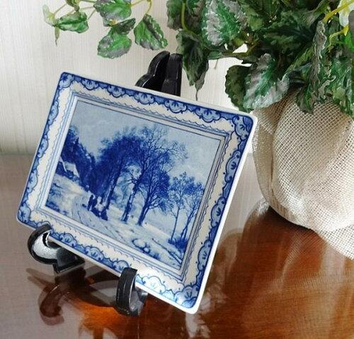 絵皿 飾り皿 壁掛け アンティーク 陶器 オランダ製 インテリアプレート 雑貨 小物 輸入雑貨 BZ-5