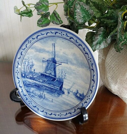 絵皿 飾り皿 壁掛け アンティーク 陶器 オランダ製 インテリアプレート 雑貨 小物 輸入雑貨 BZ-6