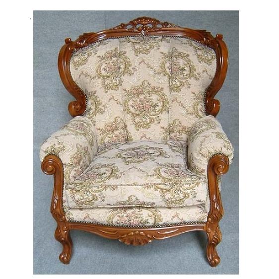 豪華なフレームでゴブラン織りのアームチェア 1人掛けソファー 0380