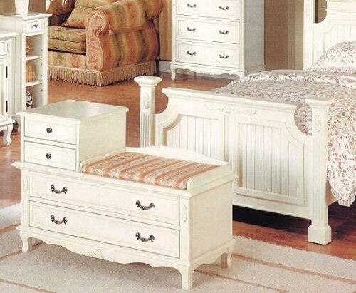 処分特価  白家具のテレホンベンチ 858