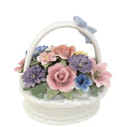 オルゴール 陶器 リアドロ風 フラワーバスケット お花 結婚お祝い 贈り物 プレゼント 81873
