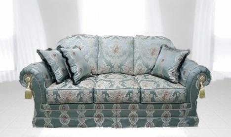 光沢のあるブル-のソファ