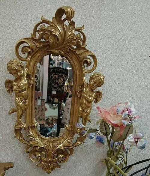 豪華なゴールド色のエンゼル壁掛けミラーMR-754