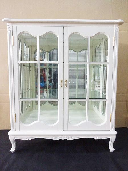 2ドア飾り棚 キャビネット 食器棚 白家具 ロココ調 ダウンライト ミラー付き 132I