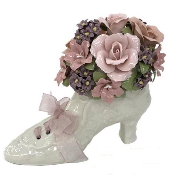オルゴール 陶器 リアドロ風 ハイヒール お花 フラワー 結婚お祝い 贈り物 プレゼント 81877