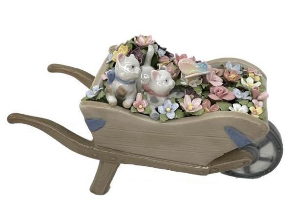 陶器 リアドロ風 置物 花車と子猫たち プレゼント 贈り物 お祝い 贈答品用 アンティーク リアドロ風 81878