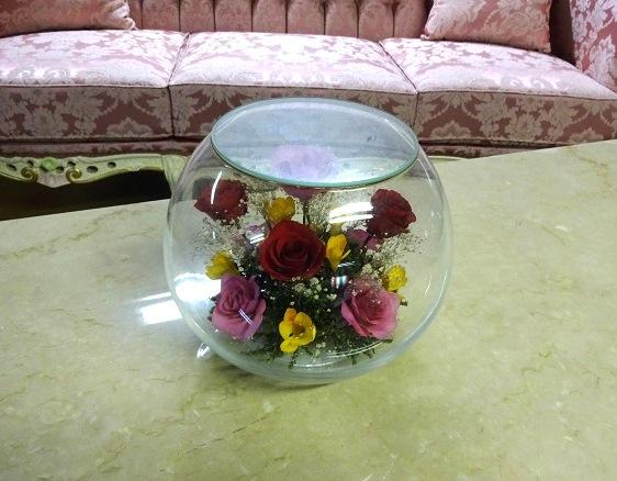 インテリアアート 花の置物 ガラスの置物 B2