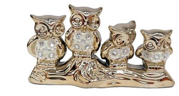 陶器置物 フクロウの置物 ふくろうファミリー 置物 プレゼント 贈り物 ギフト ゴールド 豪華 縁起物 贈答品 12722