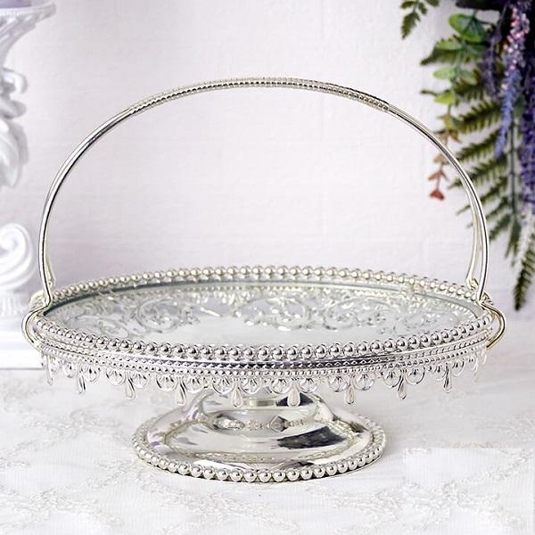 ガラストレイ 果物ホルダー ケーキフォルダー ケーキ皿 ディスプレースタンド ガラス アンティーク 置物 インテリア 雑貨 スタンドトレイ 輸入雑貨 おしゃれ