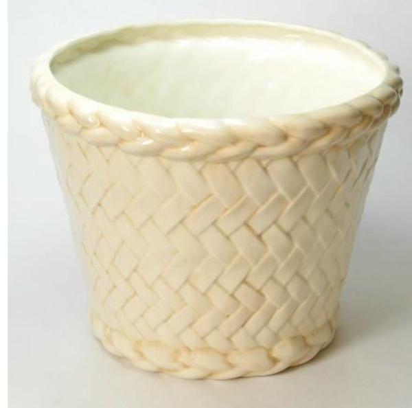 ポルトガル製陶器のプランター 植木鉢 プランタカバー アイボリー おしゃれ 8300