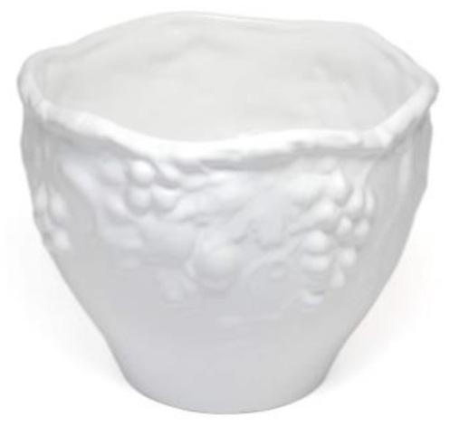 ポルトガル製陶器のプランター 植木鉢 穴あけ 鉢カバー 白 ホワイト 葡萄 おしゃれ8700W