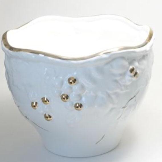 ポルトガル製陶器のプランター 植木鉢 穴あけ 鉢カバー 白 ホワイト 葡萄 おしゃれH8700-GL