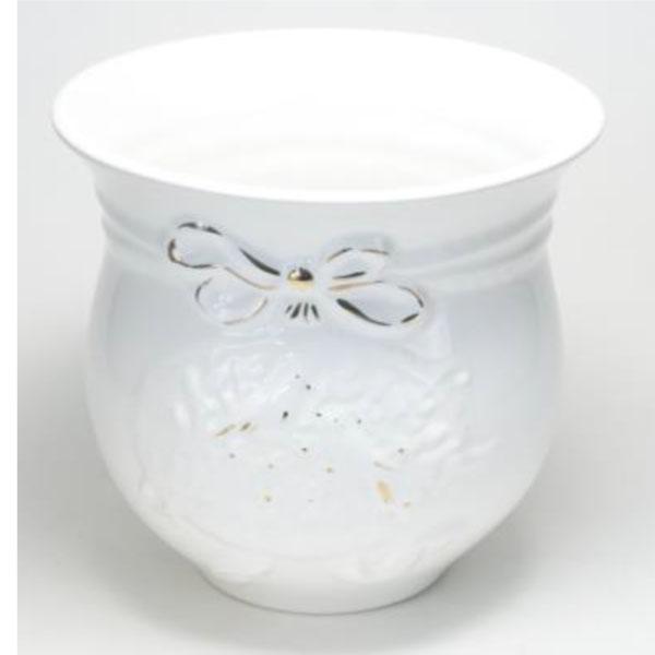 ポルトガル製陶器のプランター 植木鉢 穴あけ 鉢カバー 白 ホワイト ゴールド PSU-H9900GL
