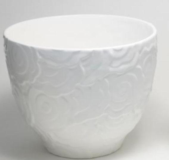 ポルトガル製陶器のプランター 植木鉢 穴あき 鉢カバー 白 ホワイト H3030W