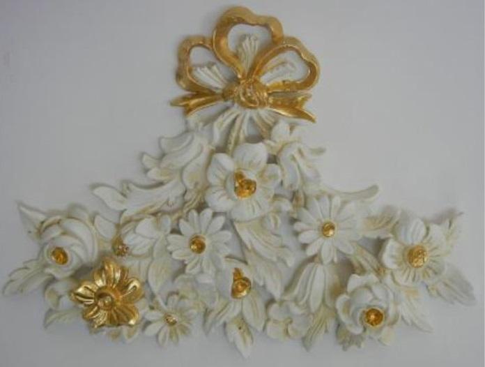 イタリア製 デコレーション アンティークホワイト ゴールド インテリア 雑貨 小物 輸入雑貨 壁飾り 壁装飾 1531