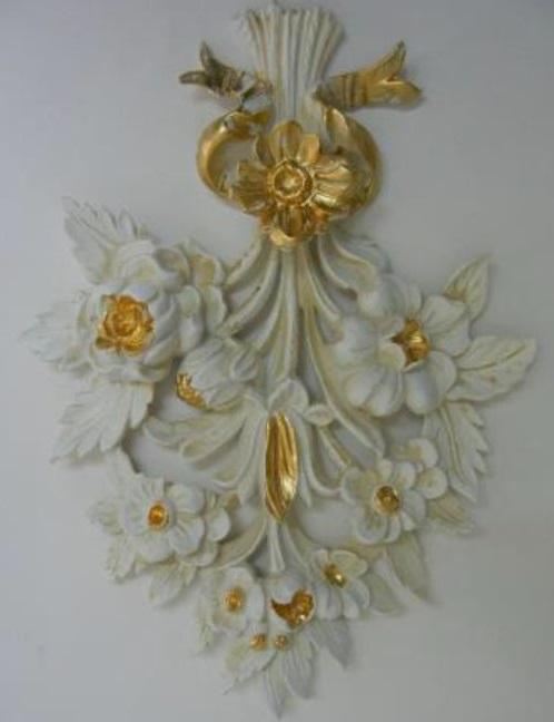 イタリア製 デコレーション アンティークホワイト ゴールド インテリア 雑貨 小物 輸入雑貨 壁飾り 壁装飾 1530
