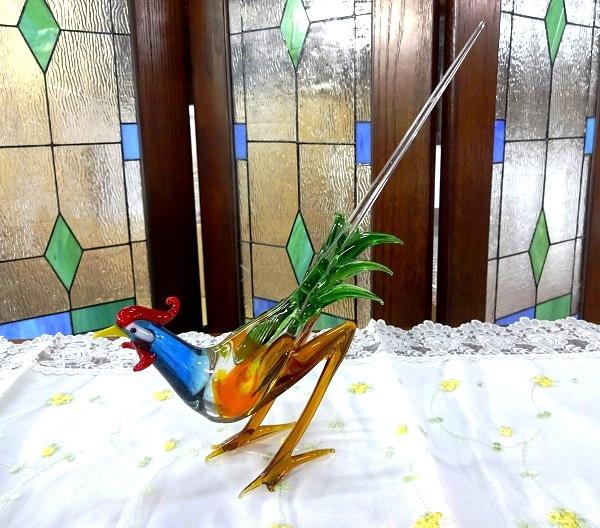 ガラス細工 鳥の置物 鶏の置物 インテリア  A-1
