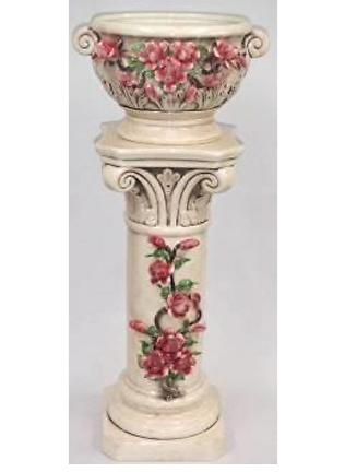 陶花 イタリア製  陶器のプランタ付きコラム 薔薇 おしゃれ
