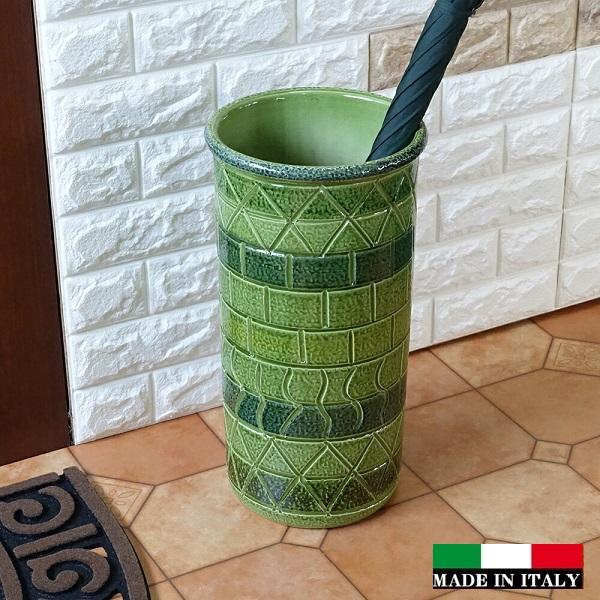 イタリア製傘立て  素焼き テラコッタ 陶器 傘立て ジオメトリー モザイク 幾何学模様 グリーン  おしゃれ レインラック 96-2430G
