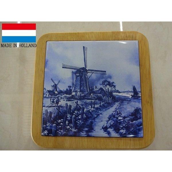 オランダ製 陶器 の額絵 タイルの 鍋敷き  風車 風景画 馬 おしゃれ レトロ 置物 アウトレット 999B