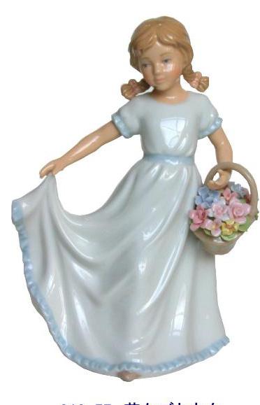 陶器 リアドロ風 置物 女の子 花かごと少女  プレゼント 贈り物 お祝い 贈答品用 アンティーク リアドロ風 818-57