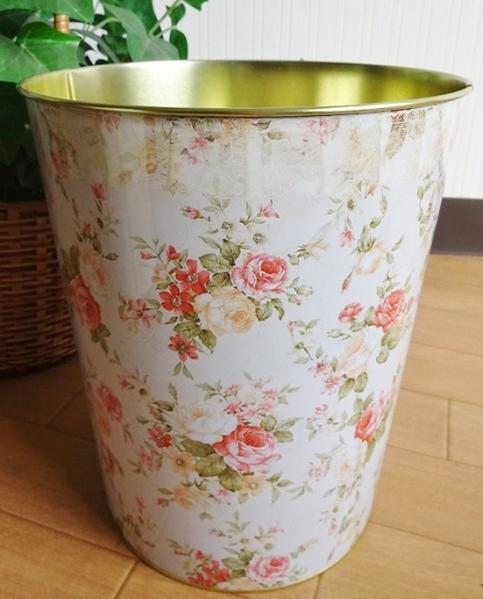 ティンダストボックス ごみ箱 小物入れ プランター ブリキ インテリア 花柄 427