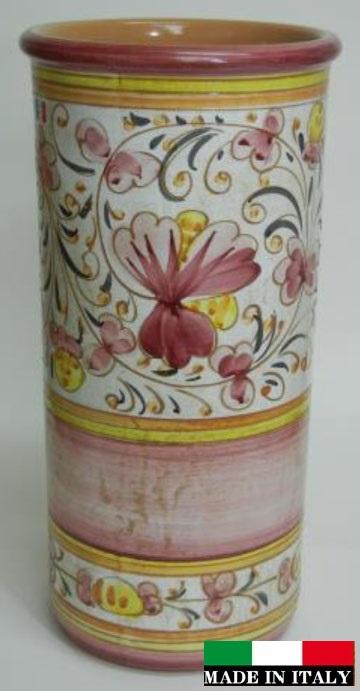 イタリア製 陶器の傘立て ピンク 962332