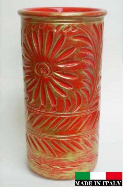 イタリア製 陶器の傘立て レッド 赤 96397