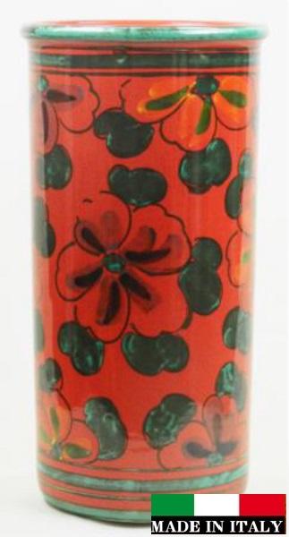 イタリア製 陶器の傘立て レッド 赤 花柄 ハイビスカス 961103