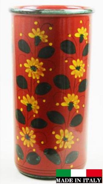 イタリア製 陶器の傘立て レッド 赤 花柄 961249