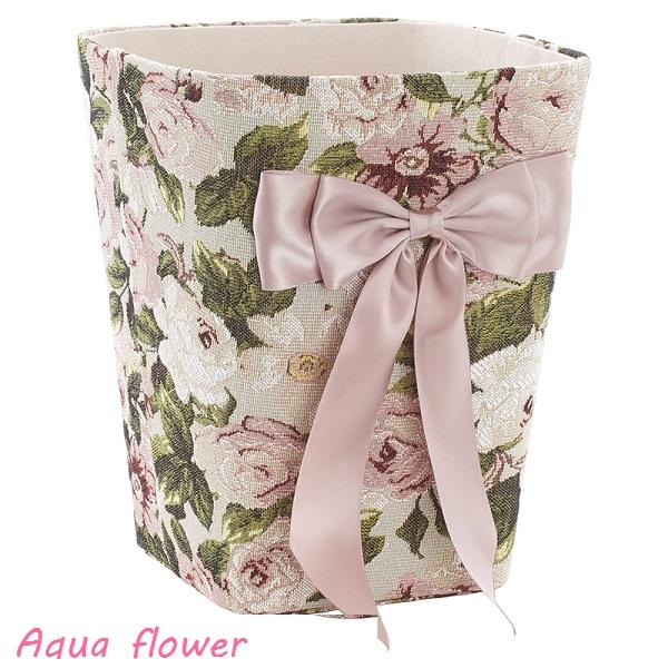 アクアフラワー ダストBOX(ゴミ箱) フリーボックス ロココ調 かわいいリボン ゴブラン織り 花柄 ピンク 58387