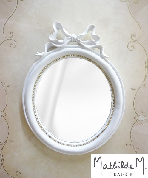 マチルドエム(Mathilde M)フランス リボンミラー 壁掛けミラー ホワイ 色ト ロココ調 エレガント 25350